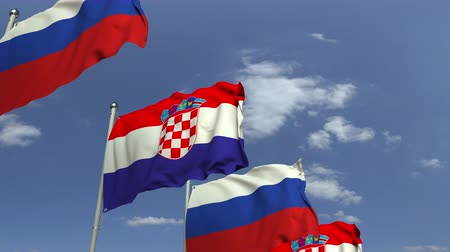 海外で : Row of waving flags of Croatia and Russia, loopable 3D animation