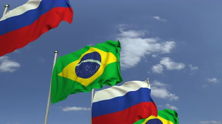 şaft : Waving flags of Brazil and Russia on sky background, loopable 3D animation