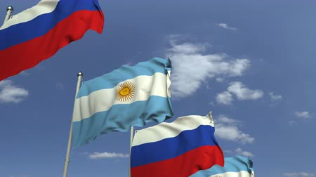 şaft : Row of waving flags of Argentina and Russia, loopable 3D animation