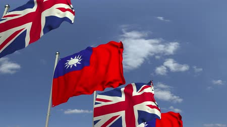 şaft : Flags of Taiwan and the United Kingdom against blue sky, loopable 3D animation