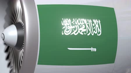 arábie : Aircraft engine with flag of Saudi Arabia, Saudi air transportation related 3D animation Dostupné videozáznamy