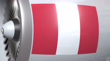 perui : Turbine with flag of Peru. Peruvian air transportation related conceptual 3D animation Stock mozgókép