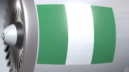 nigeria flag : Aircraft engine with flag of Nigeria, Nigerian air transportation related 3D animation