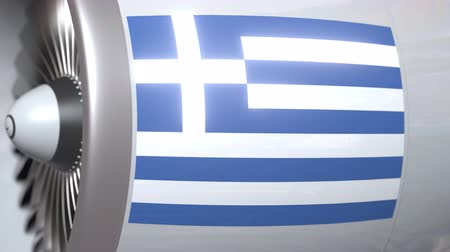 greek flag : Airplane engine with flag of Greece. Greek air transportation conceptual 3D animation Stock Footage