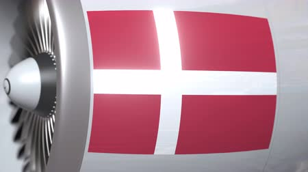 dinamarca : Airplane turbine with flag of Denmark. Danish transportation conceptual 3D animation Stock Footage