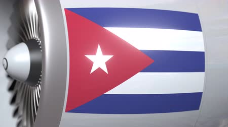 cubano : Airplane engine with flag of Cuba. Cuban air transportation conceptual 3D animation