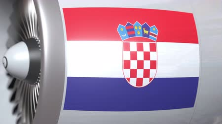hırvat : Airplane engine with flag of Croatia. Croatian air transportation conceptual 3D animation Stok Video