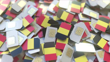 abbonamento : Many SIM cards with flag of Belgium, Belgian mobile telecommunications related 3D animation