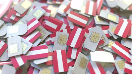 austríaco : Many SIM cards with flag of Austria, Austrian mobile telecommunications related 3D animation Vídeos
