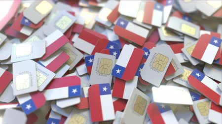 abbonamento : Many SIM cards with flag of Chile, Chilean mobile telecommunications related 3D animation