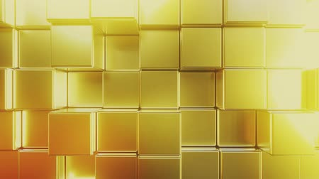 press wall : Golden square tiles. Loopable abstract 3D animation