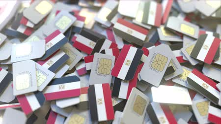 gsm : Many SIM cards with flag of Egypt, Egyptian mobile telecommunications related 3D animation Stock Footage