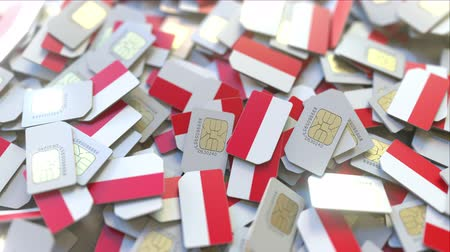 abbonamento : SIM cards with flag of Indonesia. Indonesian cellular network related conceptual 3D animation