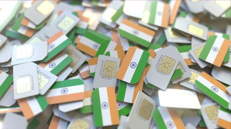 gsm : Multiple SIM cards with flag of India. Indian mobile telecommunications conceptual 3D animation