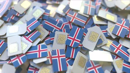 abonament : SIM cards with flag of Iceland. Icelandic cellular network related conceptual 3D animation