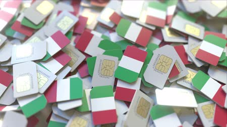 gsm : Many SIM cards with flag of Italy, Italian mobile telecommunications related 3D animation
