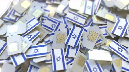 abbonamento : Pile of SIM cards with flag of Israel. Israeli mobile telecommunications related conceptual 3D animation