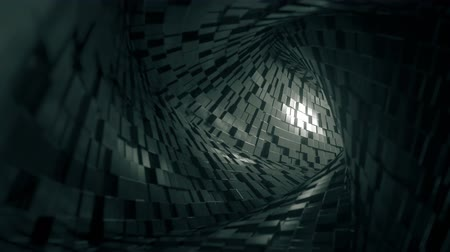 tunel : Flight through abstract square tunnel made of bricks. Loopable 3D animation Wideo