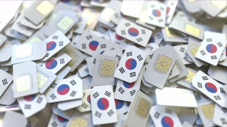 gsm : SIM cards with flag of South Korea. Korean cellular network related conceptual 3D animation