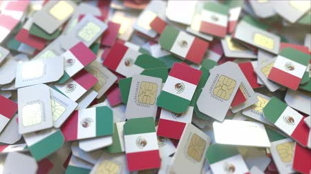 gsm : SIM cards with flag of Mexico. Mexican cellular network related conceptual 3D animation