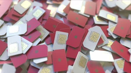subscriber : Multiple SIM cards with flag of Morocco. Moroccan mobile telecommunications conceptual 3D animation