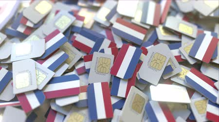 inscrição : Multiple SIM cards with flag of the Netherlands. Dutch mobile telecommunications conceptual 3D animation