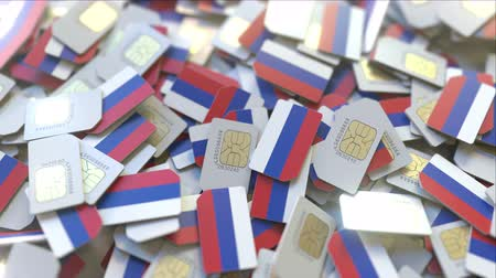 abbonamento : SIM cards with flag of Russia. Russian cellular network related conceptual 3D animation