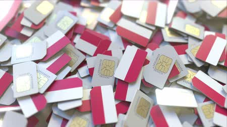 dekking : Many SIM cards with flag of Poland, Polish mobile telecommunications related 3D animation