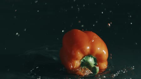 wetness : Sweet pepper falling on wet surface on dark background. Slow motion shot on Red Stock Footage