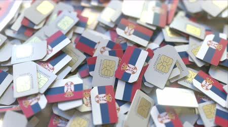 sérvia : SIM cards with flag of Serbia. Serbian cellular network related conceptual 3D animation