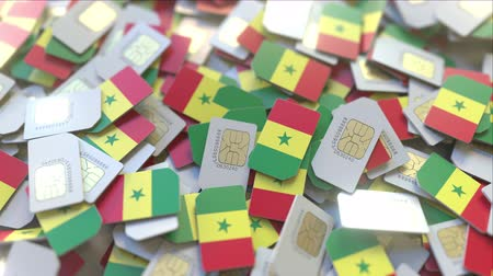 abbonamento : SIM cards with flag of Senegal. Senegalese cellular network related conceptual 3D animation Filmati Stock