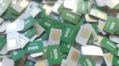 gsm : Many SIM cards with flag of Saudi Arabia, Saudi mobile telecommunications related 3D animation