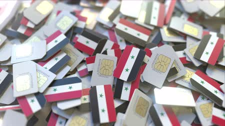 gsm : Many SIM cards with flag of Syria, Syrian mobile telecommunications related 3D animation