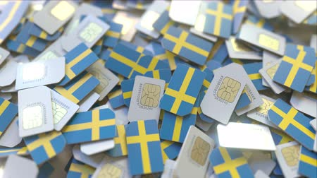abbonamento : Many SIM cards with flag of Sweden, Swedish mobile telecommunications related 3D animation