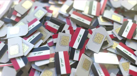 gsm : Multiple SIM cards with flag of Iraq. Iraqi mobile telecommunications conceptual 3D animation