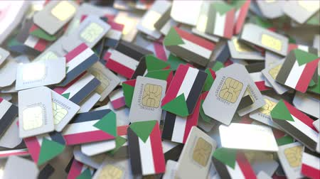 gsm : Many SIM cards with flag of Sudan, Sudanese mobile telecommunications related 3D animation