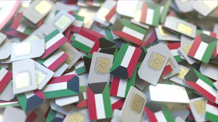 gsm : SIM cards with flag of Kuwait. Kuwaiti cellular network related conceptual 3D animation Stock Footage