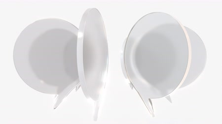 idiom : Frosted glass word balloons. Communication related loopable 3D animation Stock Footage