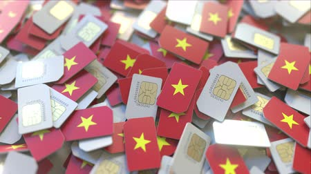 gsm : Pile of SIM cards with flag of Vietnam. Vietnamese mobile telecommunications related conceptual 3D animation