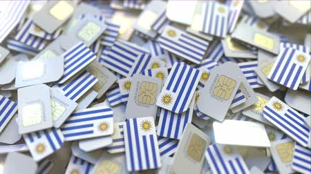 abbonamento : Multiple SIM cards with flag of Uruguay. Uruguayan mobile telecommunications conceptual 3D animation