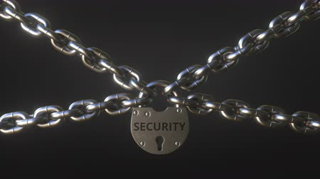 buraco de fechadura : SECURITY word on a padlock holding metal chains. Conceptual 3D animation