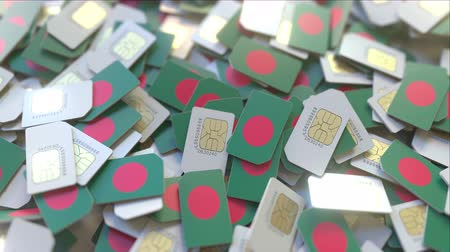 abbonamento : Multiple SIM cards with flag of Bangladesh. Bangladeshi mobile telecommunications conceptual 3D animation