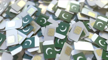 subscriber : SIM cards with flag of Pakistan. Pakistani cellular network related conceptual 3D animation