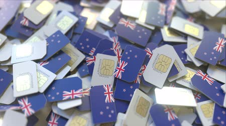 gsm : Multiple SIM cards with flag of New Zealand. National mobile telecommunications conceptual 3D animation
