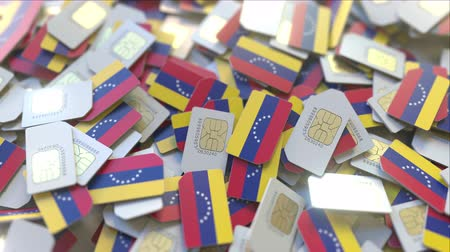 gsm : Many SIM cards with flag of Venezuela, Venezuelan mobile telecommunications related 3D animation