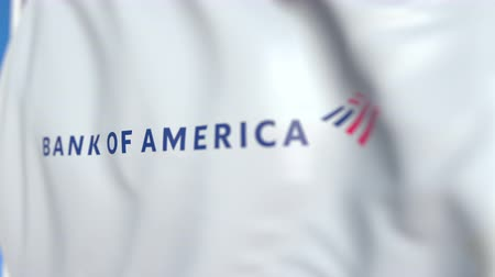 боа : Flag with Bank of America logo, close-up. Editorial 3D rendering Стоковые видеозаписи