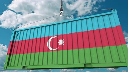 handling : Container with flag of Azerbaijan. Azerbaijani import or export related conceptual 3D animation Stock Footage