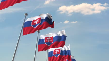 mastro de bandeira : Many waving flags of Slovakia. Loopable 3D animation