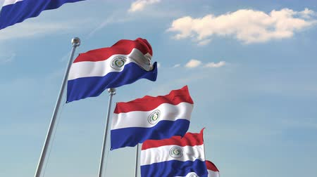 múltiplo : National flags of Paraguay. Loopable 3D animation
