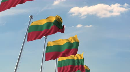 litvánia : Row of waving flags of Lithuania. Loopable 3D animation Stock mozgókép